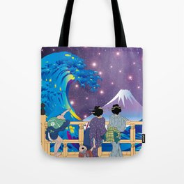 Hokusai People Seeing Big Wave & Mt.Fuji in Universe Tote Bag