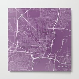 Jackson Map, USA - Purple Metal Print