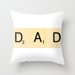 DAD - Horizontal Scrabble Tile Art and Accessories for Father's Day Throw Pillow