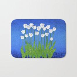 White Tulips Bath Mat