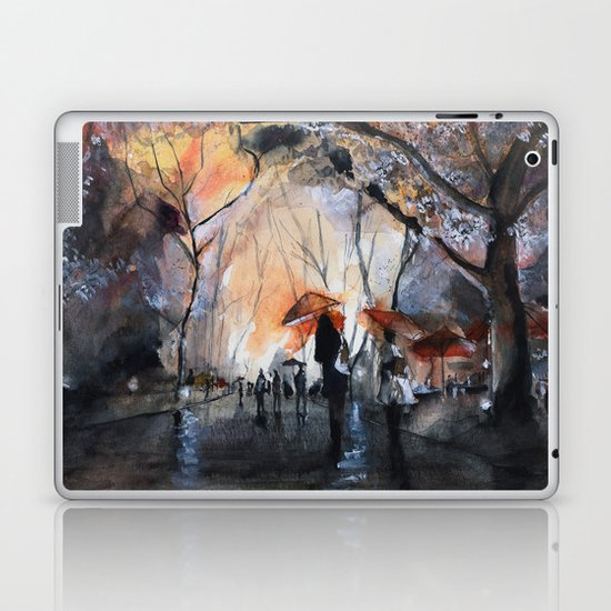 Watercolor painting - Autumn rain - Laptop & iPad Skin