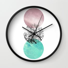 Lake in the forest under the pink sky Wall Clock