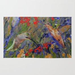 Hummingbirds, Abstract Art, Hummingbird Collage, Modern Art Rug