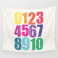 numbers Wall Tapestries featuring Numbers by Laura Flowerday (PaperCrane)
