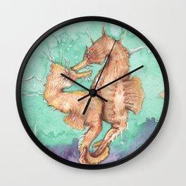 Seahorses in love Wall Clock