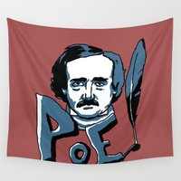 edgar allan poe Wall Tapestries featuring Edgar Allan Poe.... Very enthusiastic. by Ken Coleman