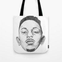 kendrick lamar Tote Bags featuring Kendrick Lamar by Omar Guzman