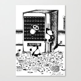 Sad Day Pandas: Vending Machine Canvas Print