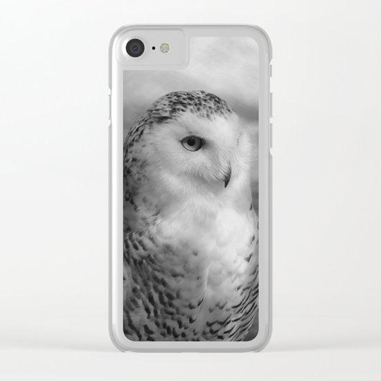 Snowy Owl - B & W Clear iPhone Case