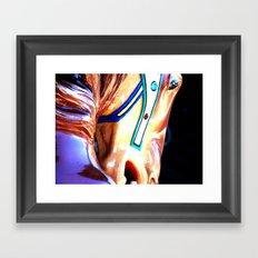 Blue Carousel Horse Framed Art Print