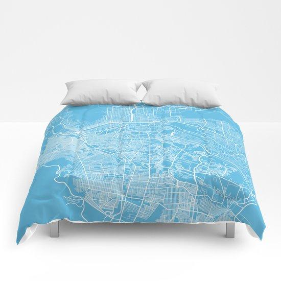 El Paso map blue Comforters