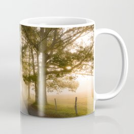 Daylight and Mist - Road with Warm Light in Great Smoky Mountains Coffee Mug