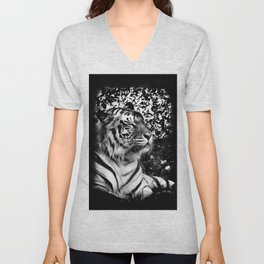 Bengal Tiger in black and white with vignette Unisex V-Neck