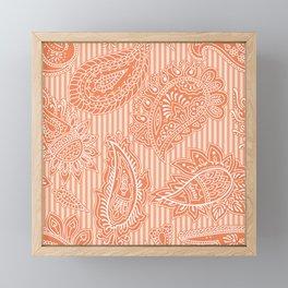 Orange stripy paisley Framed Mini Art Print
