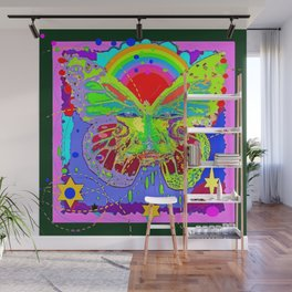 Lime Green Butterfly Face Rainbow for Kids Wall Mural