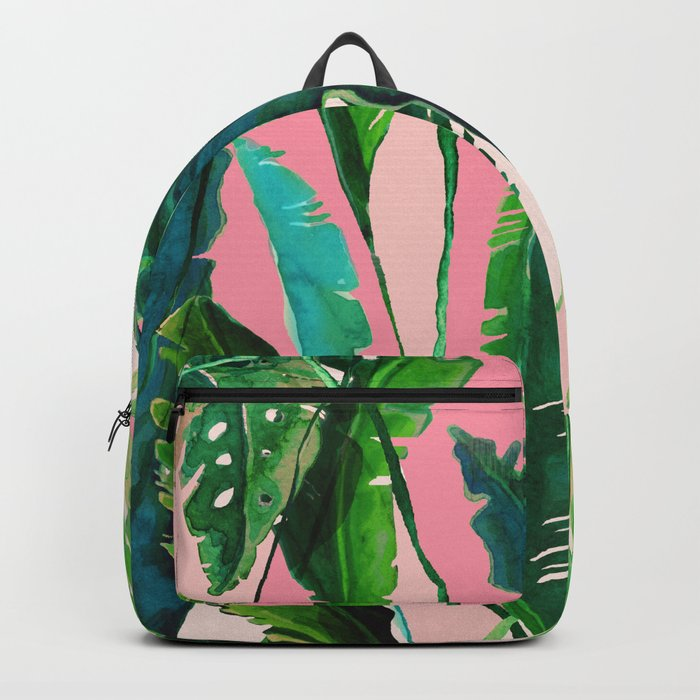pink natural tropical Backpack