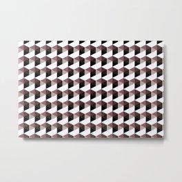Pantone Red Pear Hexagon, Cube Pattern Optical Illusion Metal Print