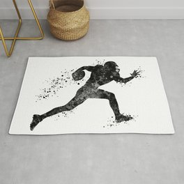 American Football Player Sports Art Football Player Gift Black And White Art Rug