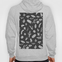 Modern White and Black Succulent Cactus  Pattern Hoody