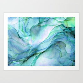Aqua Turquoise Teal Abstract Ink Painting Art Print