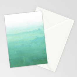 Modern hand painted green teal aqua watercolor ombre motif Stationery Cards
