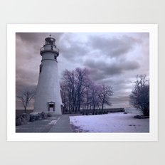 Infrared Lighthouse Art Print
