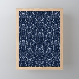 Japanese Blue Wave Seigaiha Indigo Super Moon Pattern Framed Mini Art Print