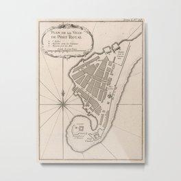 Vintage Map of Port Royal Jamaica (1764) Metal Print