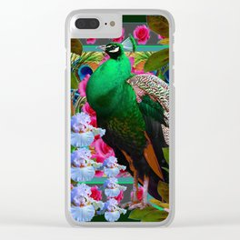 PINK ROSES & GREEN PEACOCK GARDEN FLORAL ART Clear iPhone Case