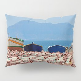 Sicily (boats with fishing nets) Pillow Sham