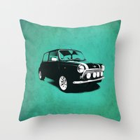 mini cooper Throw Pillows featuring The Mini Cooper by Mark Rogan