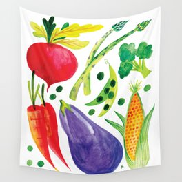 Veg Out - Vegetable, Veggies, Watercolor, Food, Beet, Carrot, Pea Wall Tapestry