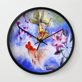 Golden Fishes Wall Clock