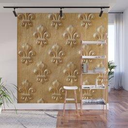 Golden Fleur de lys wood wall Wall Mural