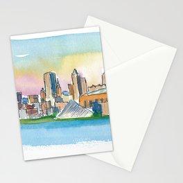 Milwaukee Wisconsin Colorful Impressionistic USA Skyline Painting Stationery Cards