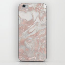 French polished rose gold marble iPhone Skin