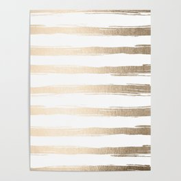 Simply Brushed Stripes White Gold Sands on White Poster