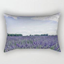 Lavender Field | Vintage French Wildflowers Botanical Meadow Landscape Photograph Purple Tones Rectangular Pillow