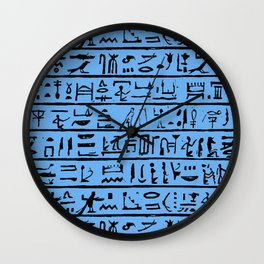 Egyptian Hieroglyphics // Blue Wall Clock