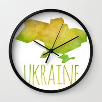 ukraine Wall Clocks featuring Ukraine by Stephanie Wittenburg