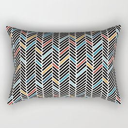 Herringbone Blue and Black #3 Rectangular Pillow