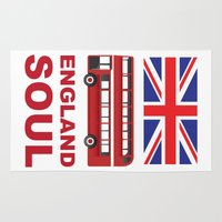 england Area & Throw Rugs featuring England Soul by Tony Vazquez