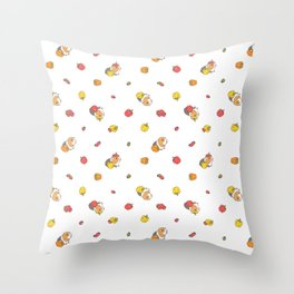 Bell Peppers and Guinea Pigs Pattern in White Background Throw Pillow