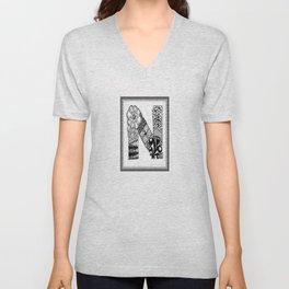 Zentangle N Monogram Alphabet Initials Unisex V-Neck
