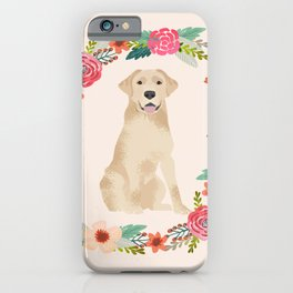 yellow lab floral wreath flowers dog breed gifts labrador retriever iPhone Case