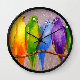 Parrots friends Wall Clock