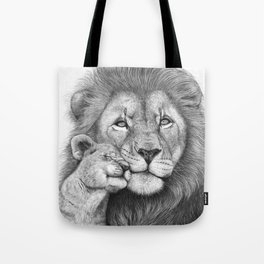 Lion with a baby Tote Bag