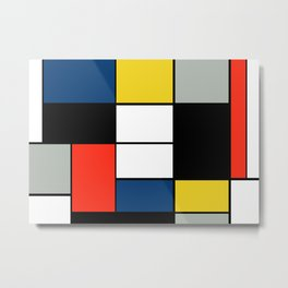 Piet Mondrian - Large Composition A with Black, Red, Gray, Yellow and Blue, 1930 Artwork Metal Print