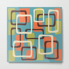 Mid Century Modern Overlapping Squares Pattern 141 Metal Print