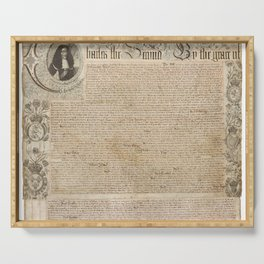 1661 Royal Charter for the State of Rhode Island and Providence Plantations from King Charles II Serving Tray